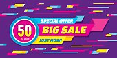 Big sale abstract vector origami horizontal banner - special offer 50% off. Sale vector banner. Sale abstract background. Super big sale design layout. Origami sale banner. Sale banner template.