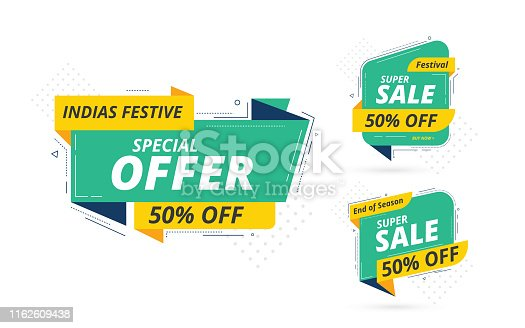Modern Big Sale Banner Design Set with 50% Discount Tag isolated on white Background