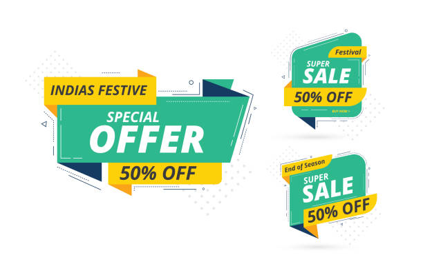 Big Sale Banner Design Set Modern Big Sale Banner Design Set with 50% Discount Tag isolated on white Background coupon stock illustrations