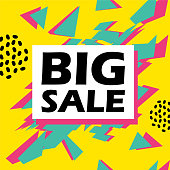 Big sale banner design vector illustration with trendy pop art   colorful style template