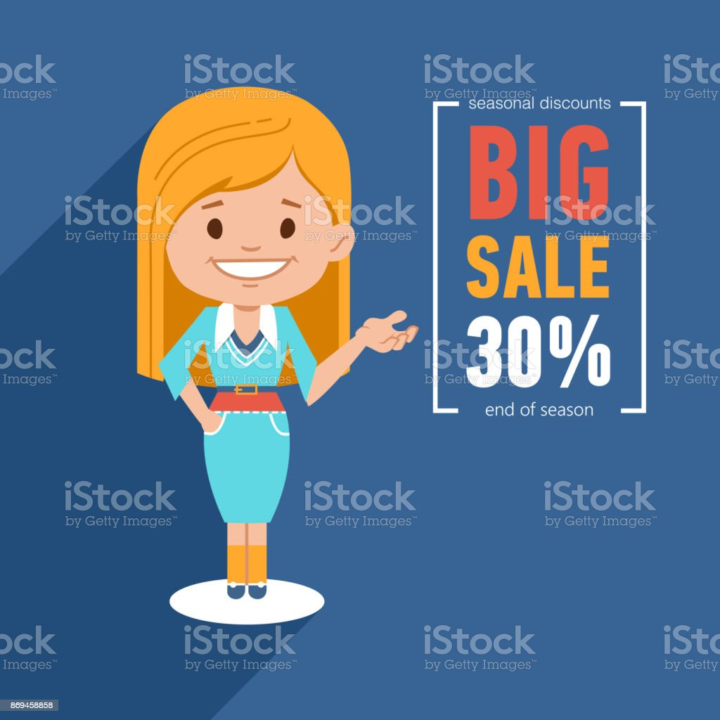 Big sale banner. Discount 30. Advertising illustration with pretty girl. End of season. Seasonal discount vector art illustration