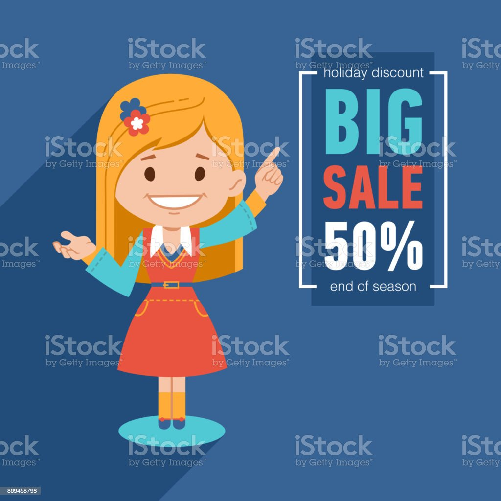 Big sale banner. Discount 50. Advertising illustration with pretty girl. Holiday discount. End of season. vector art illustration