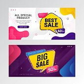Big sale banner promotion background with gradient abstract shape