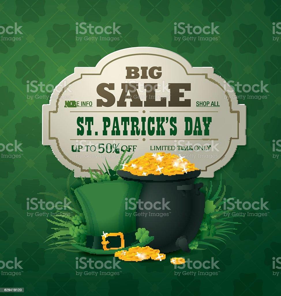 Big sale banner. Saint Patrick's day vector art illustration