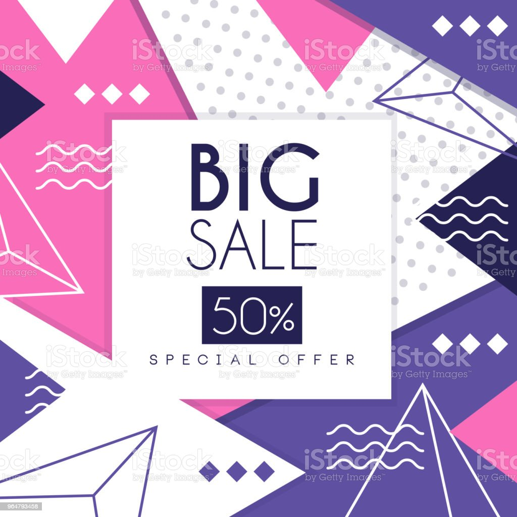 Big sale banner, special offer 50 percent off, seasonal discount, advertising poster with geometric shapes vector Illustration royalty-free big sale banner special offer 50 percent off seasonal discount advertising poster with geometric shapes vector illustration stock vector art & more images of advertisement