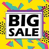 Big sale banner template design with colorful trendy pop colors background and abstract   geometric