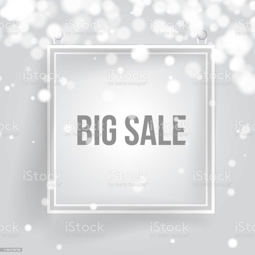 Big Sale Banner. White Frame,snow ,bokeh. Minimalistic banner for...