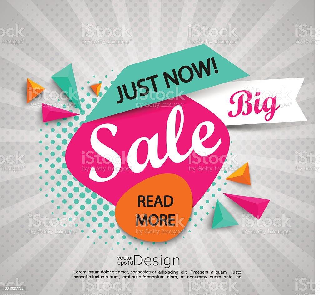 Big sale - banner with halftone background. vector art illustration