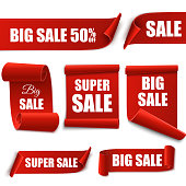 Big Sale banners. Paper scrolls. Vector Super sale stickers