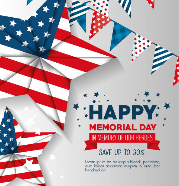 big sale commercial label for memorial day - memorial day stock illustrations, clip art, cartoons, & icons