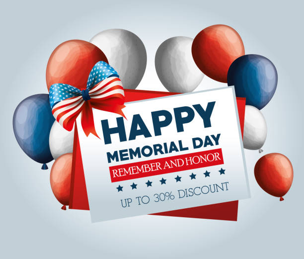 big sale commercial label for memorial day - memorial day weekend stock illustrations