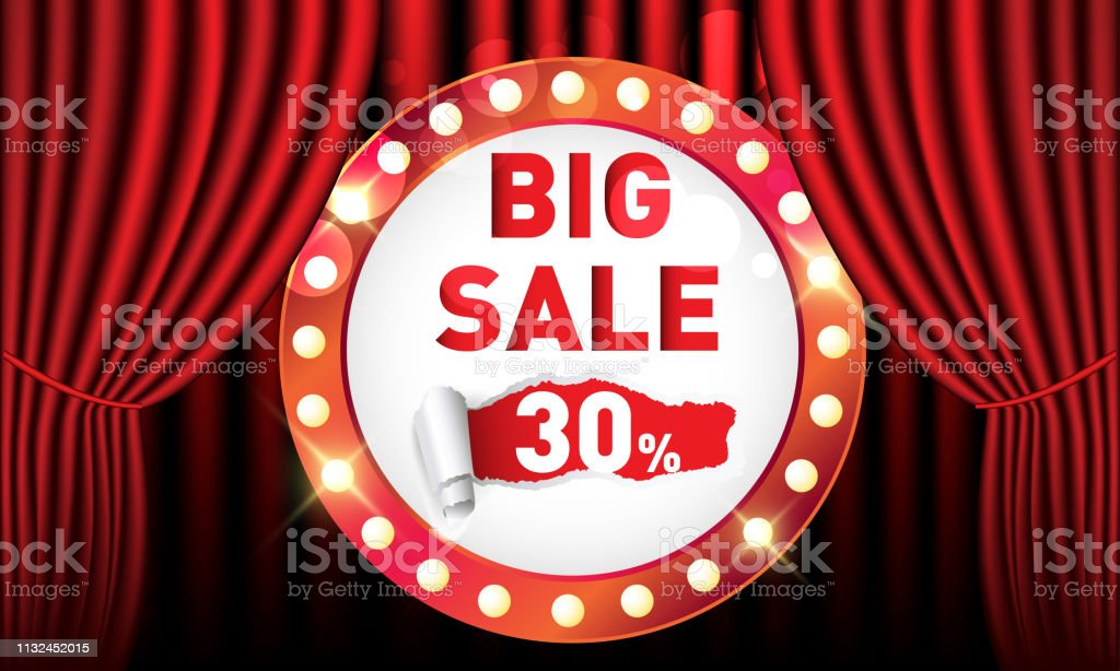 Big Sale Discount 30 With Red Curtain Spotlight Stock Illustration Download Image Now Istock