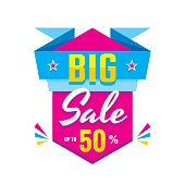 Big sale discount up to 50% - creative banner on white background. Vector illustration. Abstract advertising promotion layout.