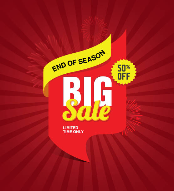 Big Sale Festival Banner Big Sale Festival Banner, Poster Design Background with 50% Discount Tag dealing cards stock illustrations