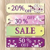 Big sale, Gift certificate, Coupon template. Spring design.