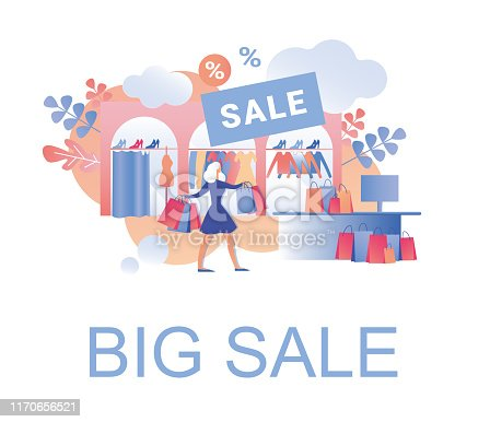 Big Sale with Deep Discounts in Women Clothes, Shoes and Accessories Trendy Boutique in Order to Clear. Young Blond Woman Shopper, Carrying Lots Colored Paper Bags with Apparel She Bought.