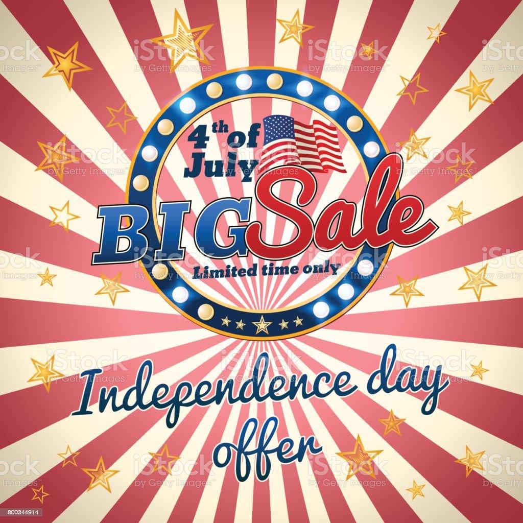 Big sale - Independence day offer vector art illustration
