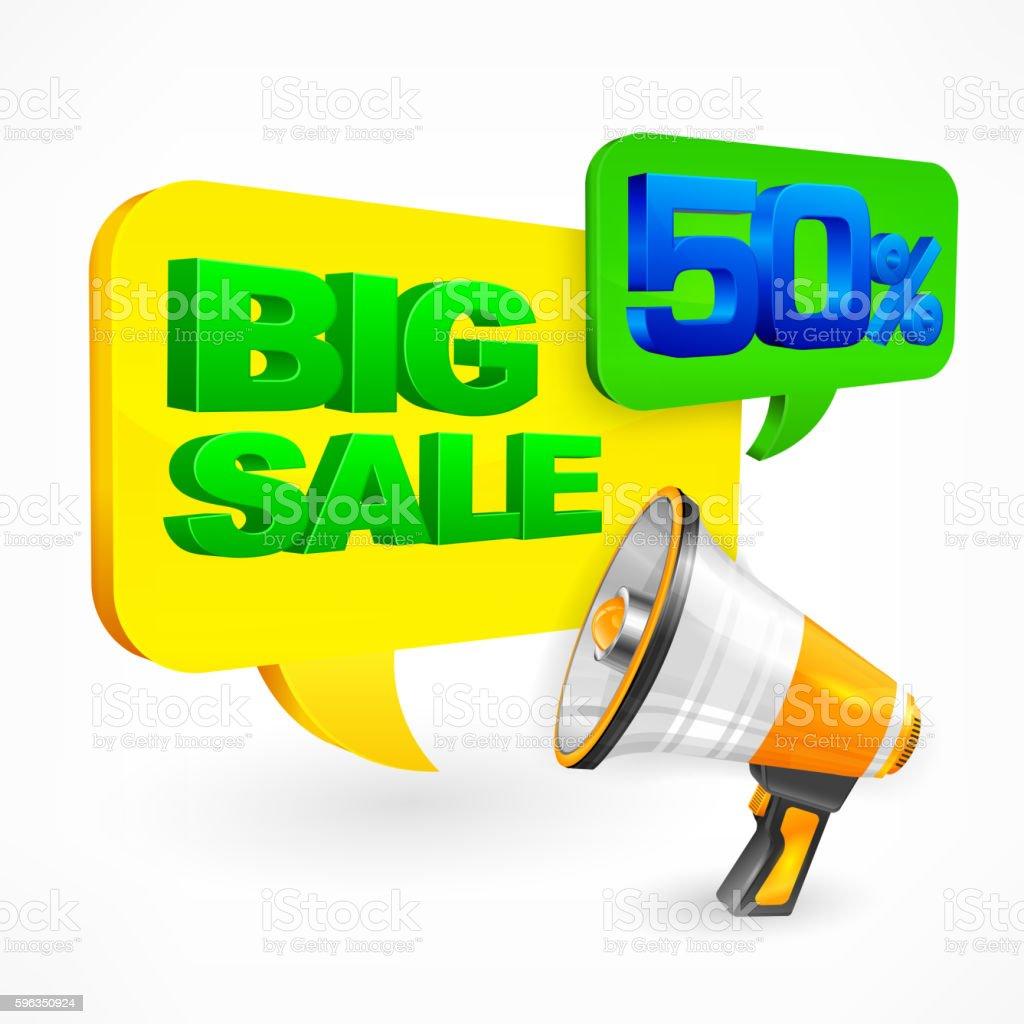 Big sale inscription. Megaphone Lizenzfreies big sale inscription megaphone stock vektor art und mehr bilder von alphabet