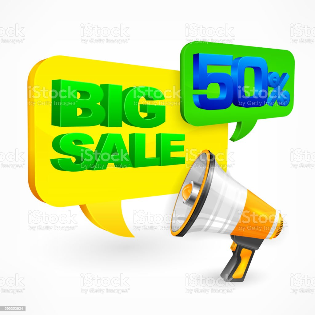 Big sale inscription. Megaphone royalty-free big sale inscription megaphone stock vector art & more images of alphabet