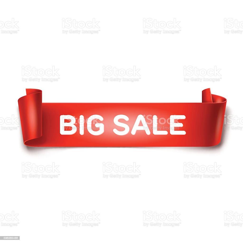 Big Sale inscription on white detailed curved ribbon on background. – Vektorgrafik