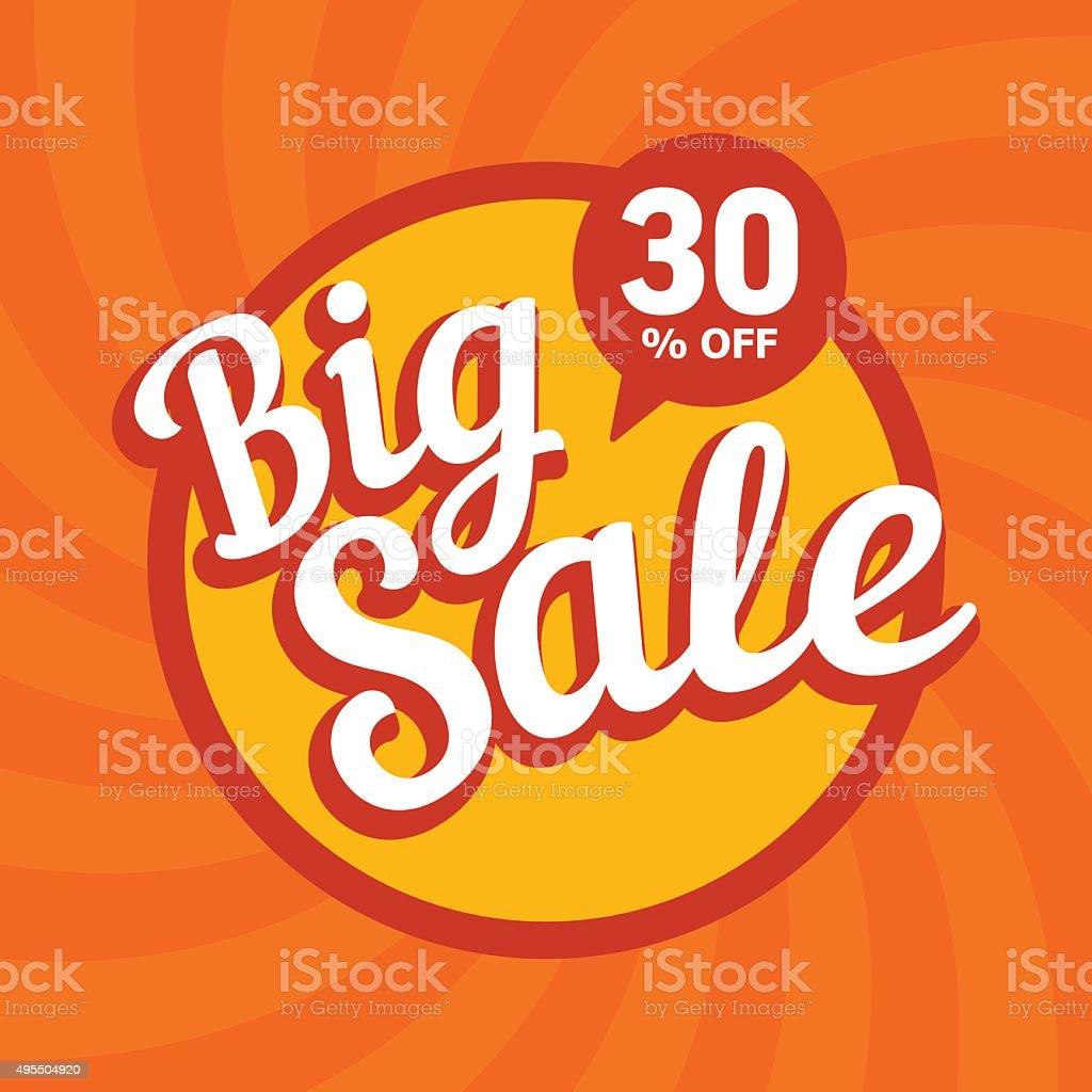 Big sale of 30 percent. Vector background. vector art illustration
