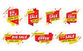 Big Sale, Offer Banner, Sticker Design Collection Set with 50% Discount Tag Vector Illustration