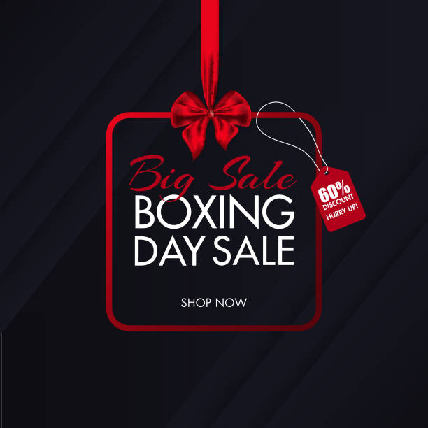Big Sale poster design with 60% discount offer on black overlapping paper background for Boxing Day. vector art illustration