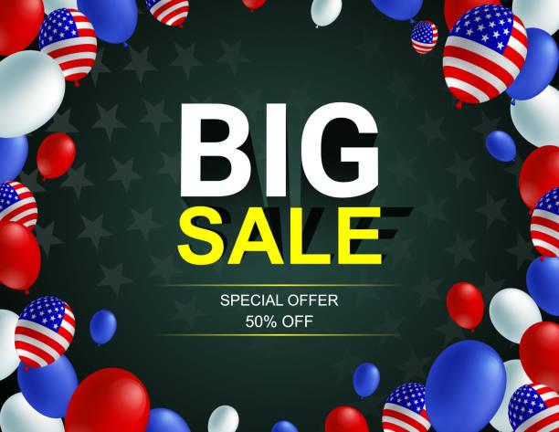 büyük satış afiş afiş afiş vektör çizim. amerikan bayrağı balon koyu arka plan tasarımı. tatil kutlama konsept reklam. - columbus day stock illustrations