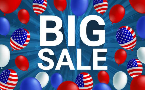 büyük satış afiş afiş afiş vektör çizim. amerikan bayrağı balon mavi arka plan tasarımı. tatil kutlama konsept reklam. - columbus day stock illustrations