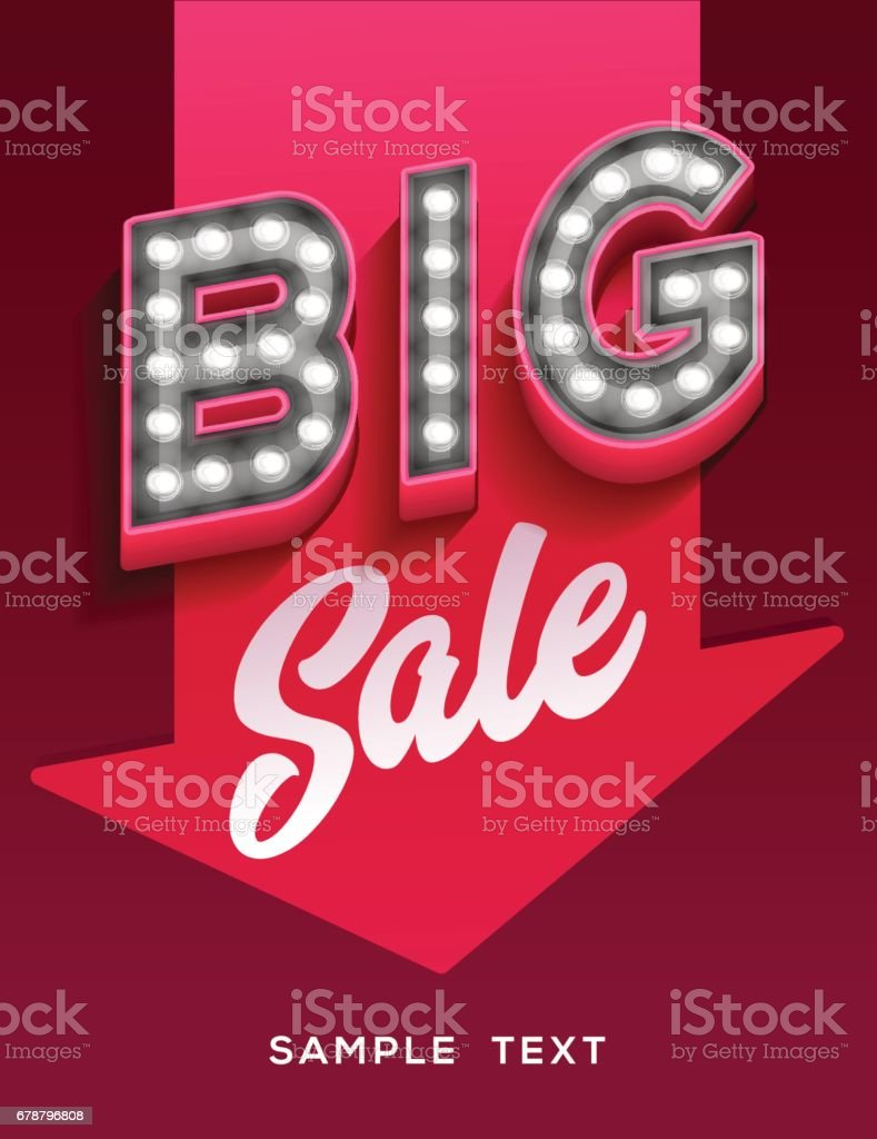 Big sale sign. Retro light signboard banner with glowing bulbs vector art illustration