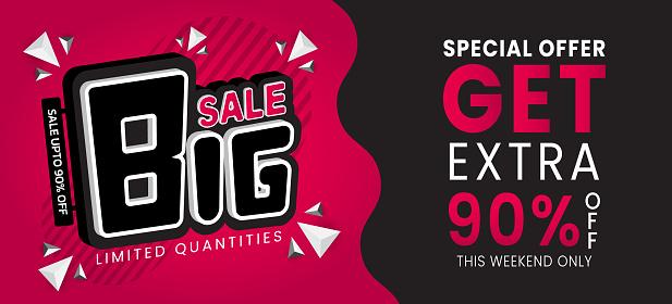 Big sale special up to 90% off Sale banner template design vector illustration