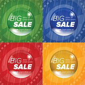 Big sale square stickers in a circle bubble. Sale and discounts. Vector illustration