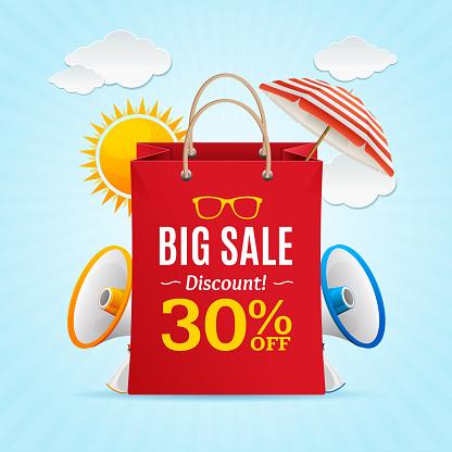 Big Sale Summer Concept Banner Card or Poster. Vector
