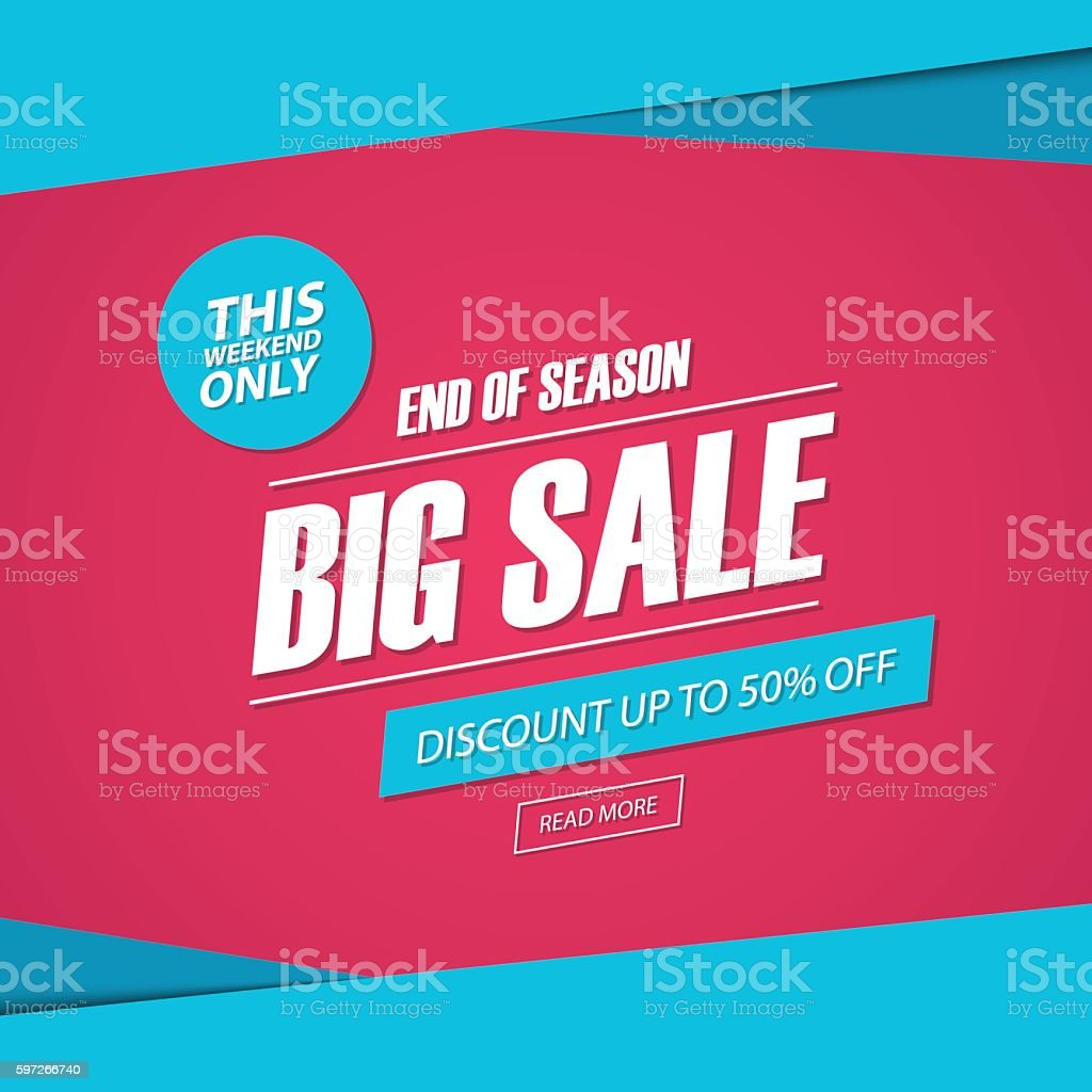 Big Sale. This weekend special offer banner, discount 50% off. royalty-free big sale this weekend special offer banner discount 50 off stock vector art & more images of advertisement