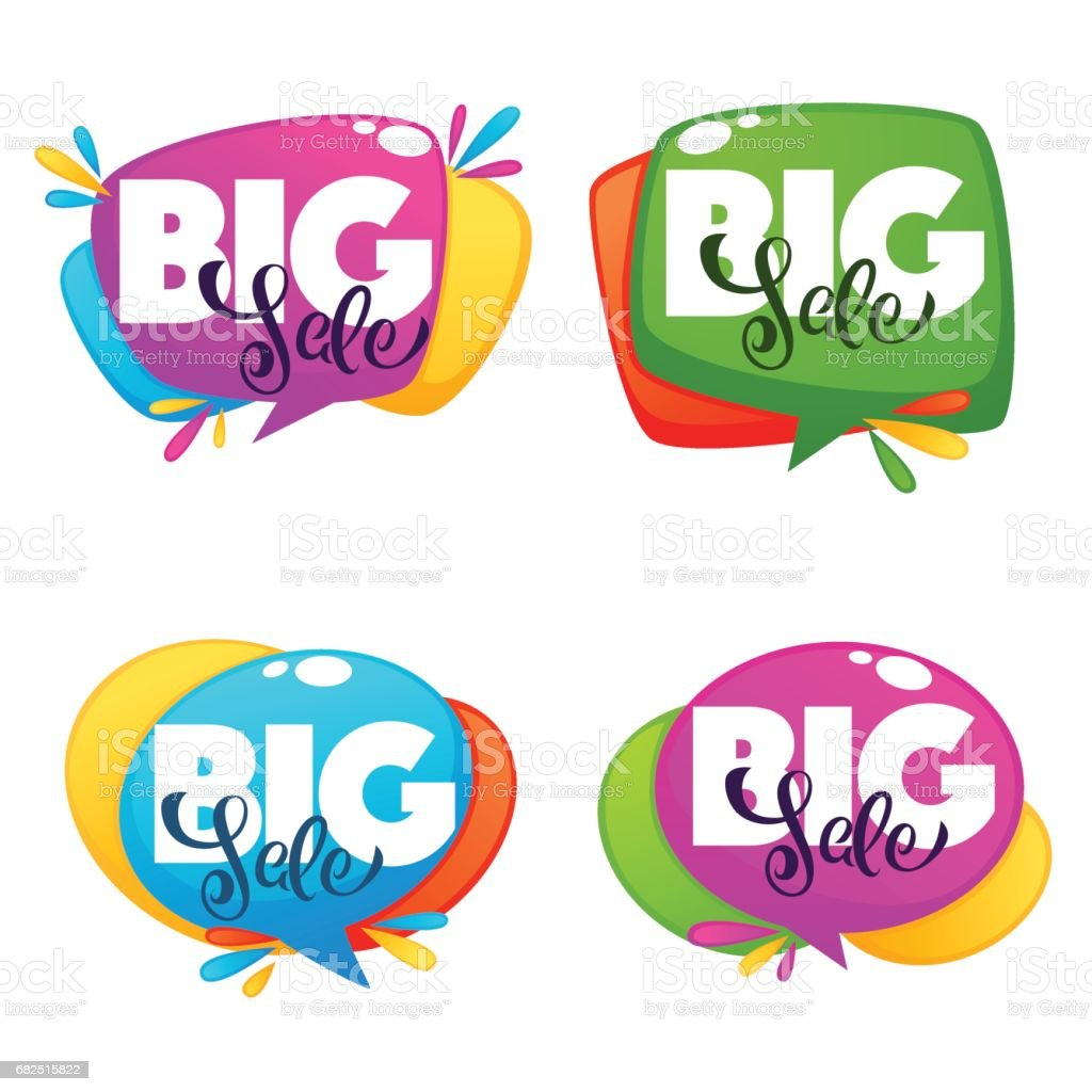 big sale, vector collection of bright discount bubble tags with lettering composition royalty-free big sale vector collection of bright discount bubble tags with lettering composition stock vector art & more images of advertisement