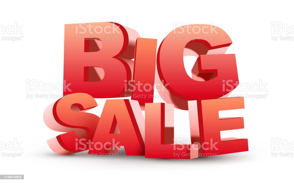 3D big sale vector art illustration