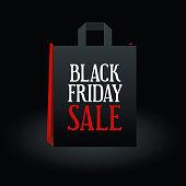 Big Sales Black Friday black bag on a black background