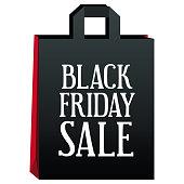 Big Sales Black Friday black bag on a white background