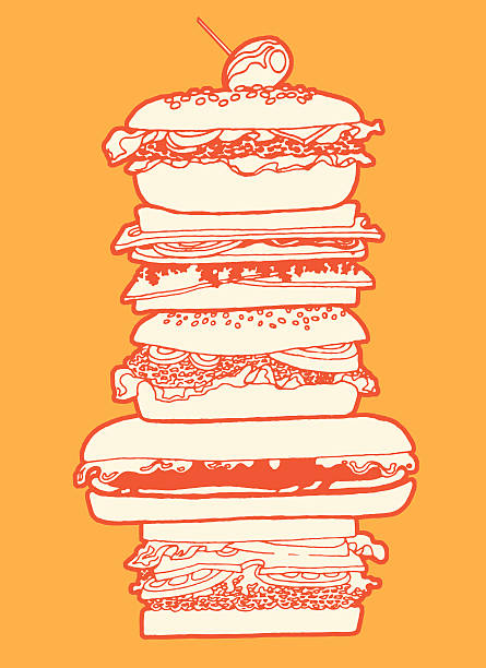 big sandwich - sub sandwich stock illustrations, clip art, cartoons, & icons
