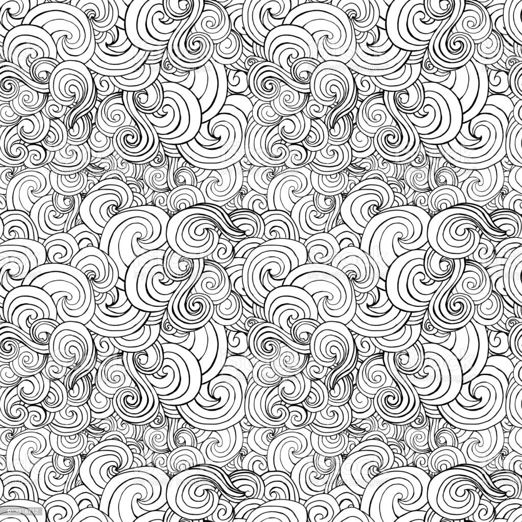 Big seamless pattern, black and white stylized curls, waves for vector art illustration