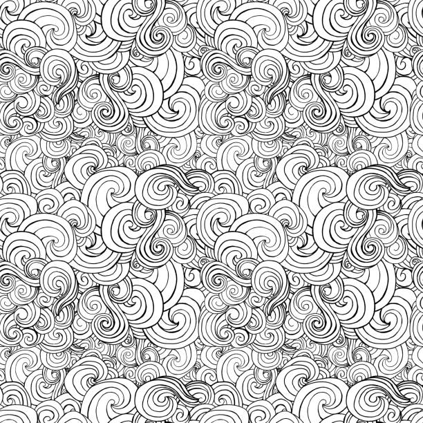 big seamless pattern, black and white stylized curls, waves for - 성인 stock illustrations