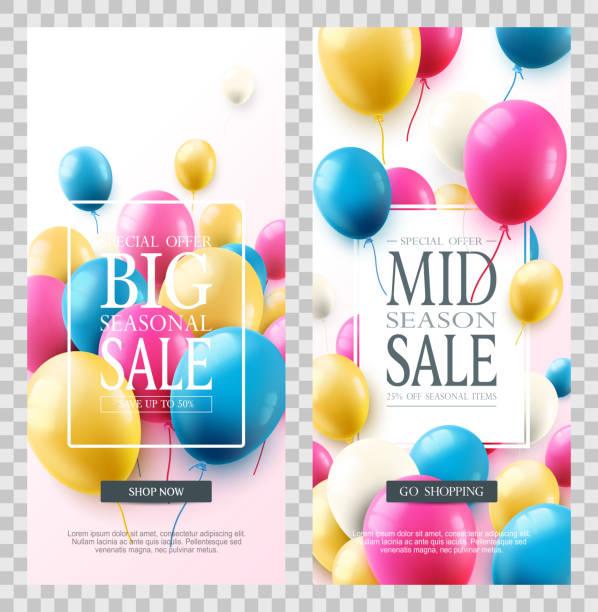 ilustraciones, imágenes clip art, dibujos animados e iconos de stock de gran venta de temporada. oferta especial celebrar banners con globos de aire de colores. - gran inauguración