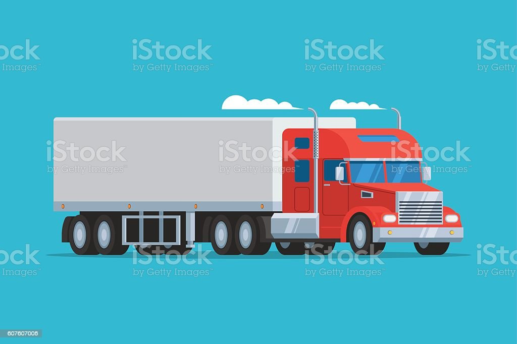 Big semi truck vector art illustration