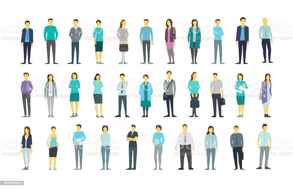 Big set a lot of people bundle in line crowd many persons. Stock vector illustration vector art illustration