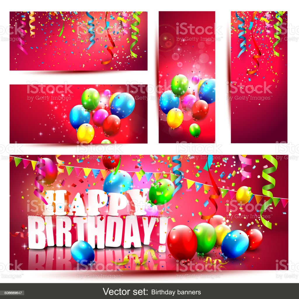 Big set - birthday banners vector art illustration