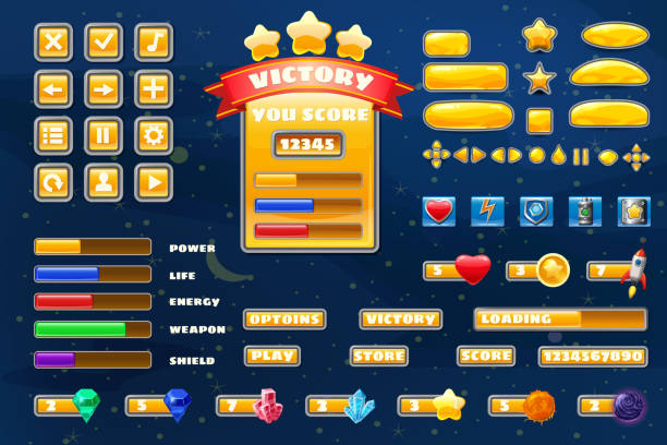 Big set buttons icons elements for Space game cartoon casual games and app. 2D video game UI kit icon for mobile games and background. Graphical user interface, GUI, menu. Vector isolated Big set buttons icons elements for Space game cartoon casual games and app leisure games stock illustrations