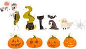 Big Halloween set - pumpkin lantern, zombie, bat, cat, bat, spider web, cauldron, pointy hat, cartoon vector illustration isolated on white background. Big set, collection of cartoon Halloween objects
