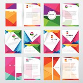 "big set collection of trendy geometric triangular design style letterhead and brochure cover template mockups for business visual identity with letter logo elements. There are twelve letterhead designs isolated on light background. Designs are colorful and bright in spectrum colors (purple, green, blue, orange, yellow, red) in combination with white. They come in pairs, the cover and the letterhead document. Trendy low polygon look with abstract and creative compositions. ""lorem ipsum"" text is placed on the paper formats as an example of possible use of copyspace."