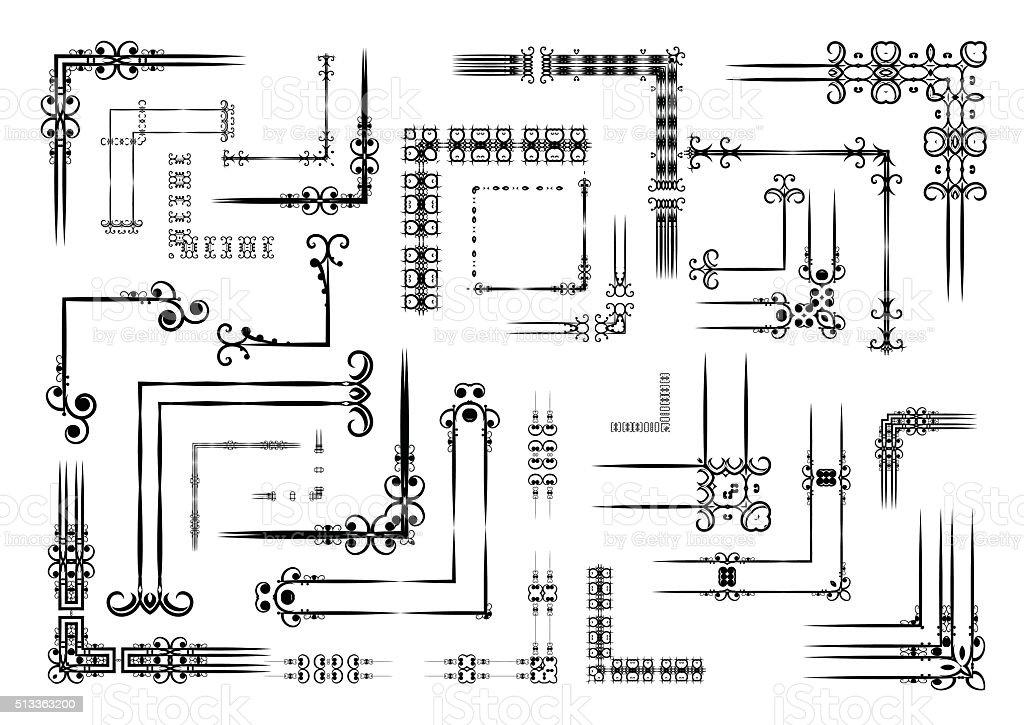 Big set decorative elements. Angle design. vector art illustration