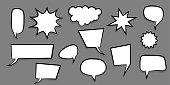 Announces sketch idea conversation sketch explosion. Comic text speech bubble dot background. Big set picture blank template pop art style. Comics book dialog empty cloud, space cartoon box.